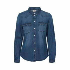 Organic Cotton Denim Shirt with Long Sleeves and Pockets