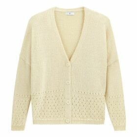 Pointelle Knit V-Neck Cardigan