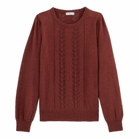 Chunky Pointelle Knit Jumper with Crew-Neck