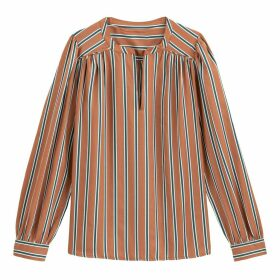 Striped Long-Sleeved Blouse with V-Neck