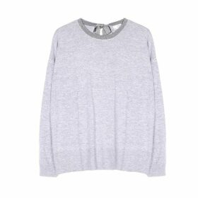 Tie-Back Metallic Jumper in Fine Knit with Crew Neck