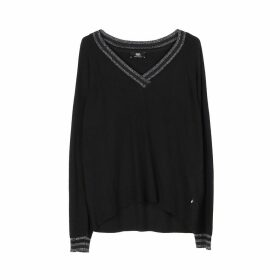 Fine Knit V-Neck Jumper with Metallic Detail
