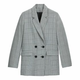 Longline Straight Double-Breasted Blazer in Prince of Wales Check