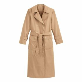 Long Cotton Double-Breasted Duster Trench with Press-Studs