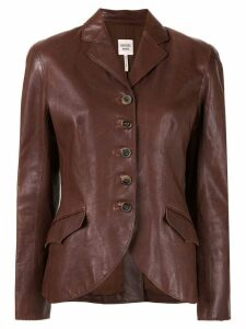 Hermès pre-owned slim leather jacket - Brown