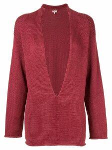 Hermès Pre-Owned plunge neck jumper - PINK