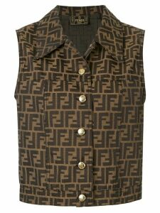 Fendi Pre-Owned Zucca pattern buttoned waistcoat - Brown