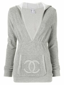 Chanel Pre-Owned interlocking CC Sports Line hoodie - Grey