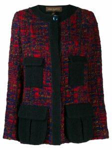 Louis Vuitton pre-owned bouclé tweed buttoned jacket - Blue