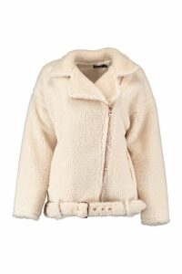 Womens Teddy Faux Fur Biker Jacket - white - 10, White