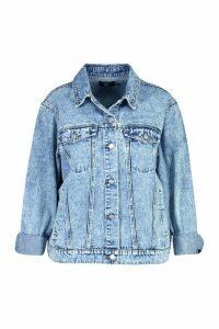 Womens Plus Acid Wash Boyfriend Denim Jacket - blue - 20, Blue