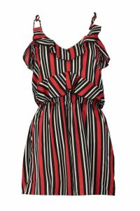 Womens Rosalina Ruffle Striped Playsuit - red - 10, Red