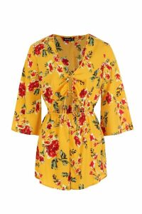 Womens Ruched Cut Out Front Playsuit - yellow - 10, Yellow