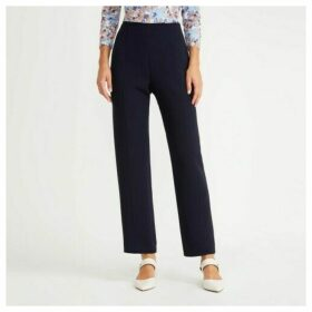 Navy Flat Front Crepe Trousers