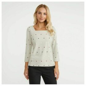 Blonde Marl Square Neck Spotted Top