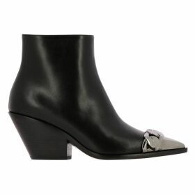 Casadei Flat Booties Casadei Texano Leather Ankle Boots With Metal Toe And Chain