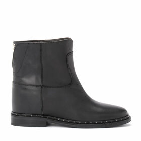 Via Roma 15 Ankle Boot In Black Leather With Studs Applied