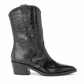 Texan Via Roma 15 Black Ankle Boot In Crocodile Print Leather