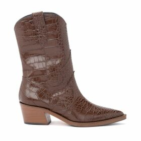 Via Roma 15 Texan Ankle Boot In Brown Crocodile Print Leather
