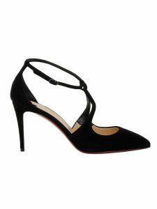 Christian Louboutin Black Velvet Sandals