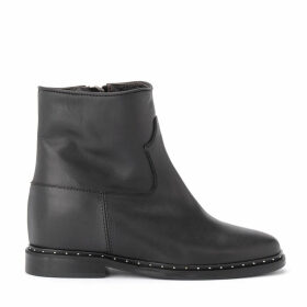 Black Rome 15 Leather Ankle Boots With Applied Micro-studs