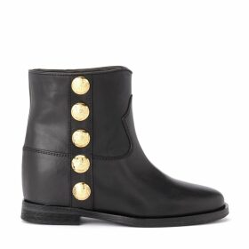 Via Roma 15 Ankle Boot In Black Leather With Golden Details