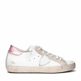 Philippe Model Paris Sneaker In White And Metallic Pink Leather