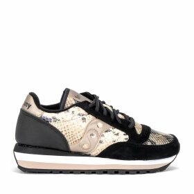Saucony Jazz Triple Sneaker In Black Suede And Animalier Leather With Gold Details
