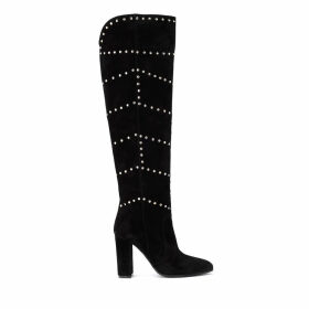 Via Roma 15 Boot In Black Suede With Studs