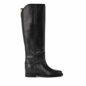 Via Roma 15 Boot In Black Leather With Back Logo.