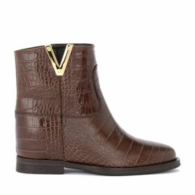 Via Roma 15 Ankle Boot In Brown Crocodile Print Leather