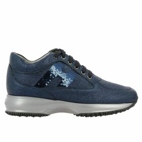 Hogan Sneakers Hogan Interactive Sneakers In Laminated Leather With Sequin H