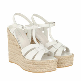 Saint Laurent Espadrilles - Espadrilles Wedge Sandals Leather Gray White - white - Espadrilles for ladies
