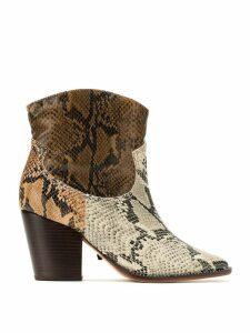 Schutz panelled snake effect boots - Black