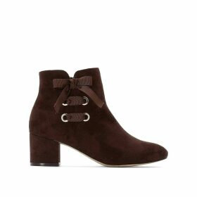 Faux Suede Ankle Boots with Bow Detail and Block Heel