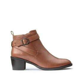 Leather Ankle Boots with Block Heel and Buckle Detail