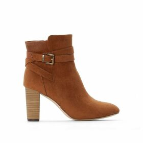 Faux Suede Ankle Boots with High Heel and Buckle