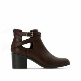 Wide Fit Faux Leather Boots with Cut-Out and Block Heel