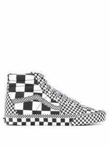 Vans checked high top sneakers - White