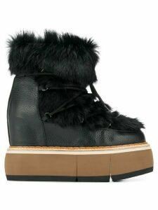 Paloma Barceló fur trim platform boots - Black