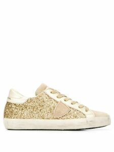 Philippe Model glitter lace-up sneakers - GOLD