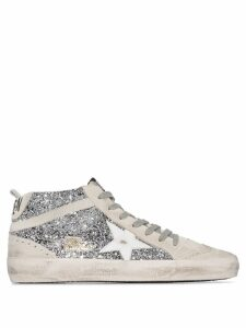 Golden Goose Mid Star glittered sneakers - White