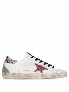 Golden Goose Superstar glittered-star sneakers - White