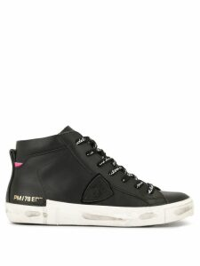 Philippe Model branded lace hi-top sneakers - Black
