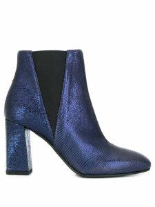 Pollini textured crocodile ankle boots - Blue