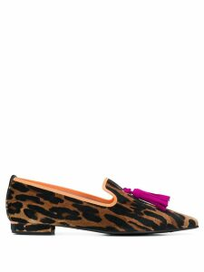 Pretty Ballerinas leopard print pointed loafers - Brown