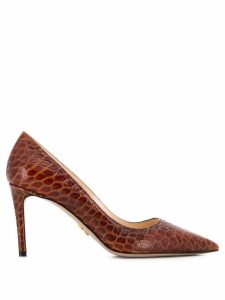 Prada crocodile-effect slip-on pumps - Brown