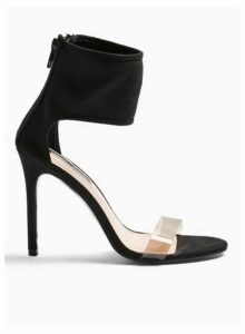 Womens Shimmy Black Perspex Heeled Sandals, BLACK