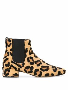 Francesco Russo leopard print boots - Brown