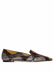 Aeyde Aurora snake-effect flat loafers - Brown